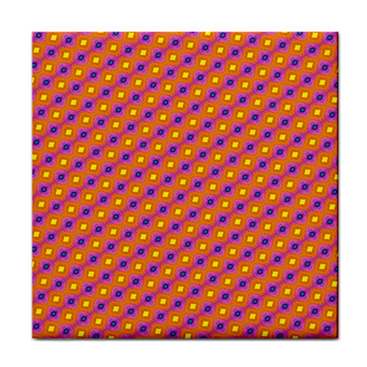 Vibrant Retro Diamond Pattern Tile Coasters