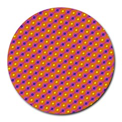 Vibrant Retro Diamond Pattern Round Mousepads