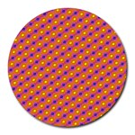 Vibrant Retro Diamond Pattern Round Mousepads Front
