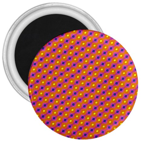 Vibrant Retro Diamond Pattern 3  Magnets