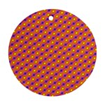 Vibrant Retro Diamond Pattern Ornament (Round)  Front