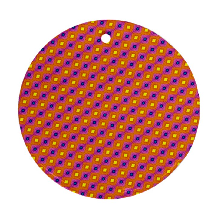 Vibrant Retro Diamond Pattern Ornament (Round)