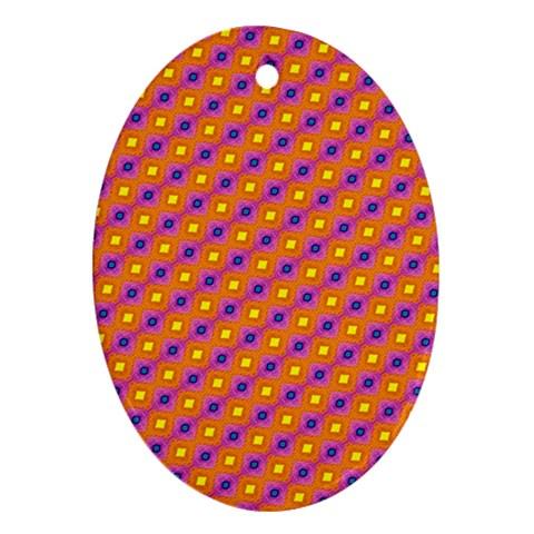 Vibrant Retro Diamond Pattern Ornament (Oval)