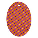 Vibrant Retro Diamond Pattern Ornament (Oval)  Front