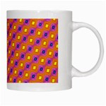 Vibrant Retro Diamond Pattern White Mugs Right