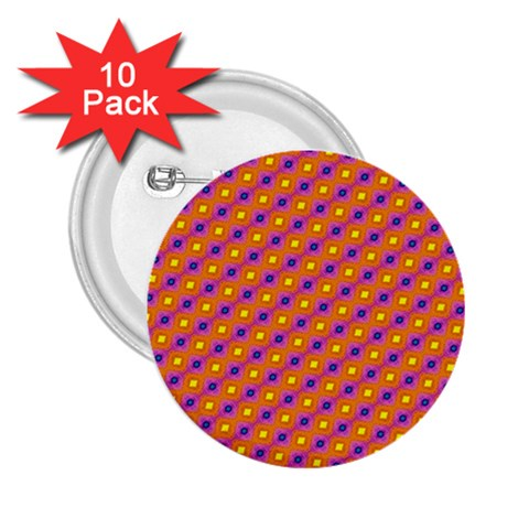 Vibrant Retro Diamond Pattern 2.25  Buttons (10 pack)