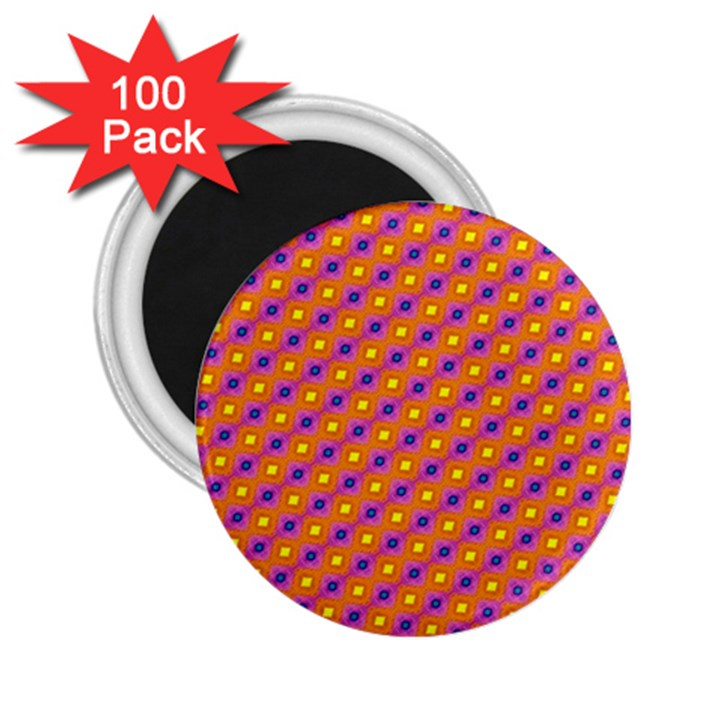 Vibrant Retro Diamond Pattern 2.25  Magnets (100 pack)