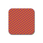 Vibrant Retro Diamond Pattern Rubber Coaster (Square)  Front