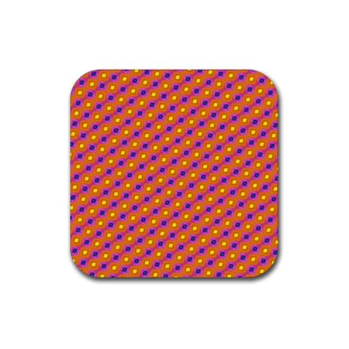 Vibrant Retro Diamond Pattern Rubber Square Coaster (4 pack)