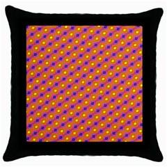 Vibrant Retro Diamond Pattern Throw Pillow Case (Black)