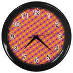 Vibrant Retro Diamond Pattern Wall Clocks (Black) Front