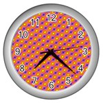 Vibrant Retro Diamond Pattern Wall Clocks (Silver)  Front