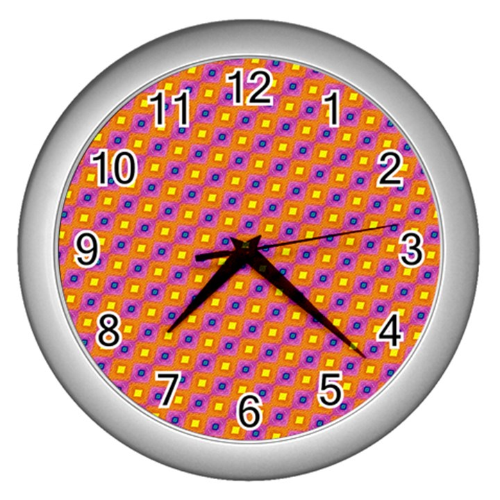 Vibrant Retro Diamond Pattern Wall Clocks (Silver)