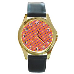 Vibrant Retro Diamond Pattern Round Gold Metal Watch