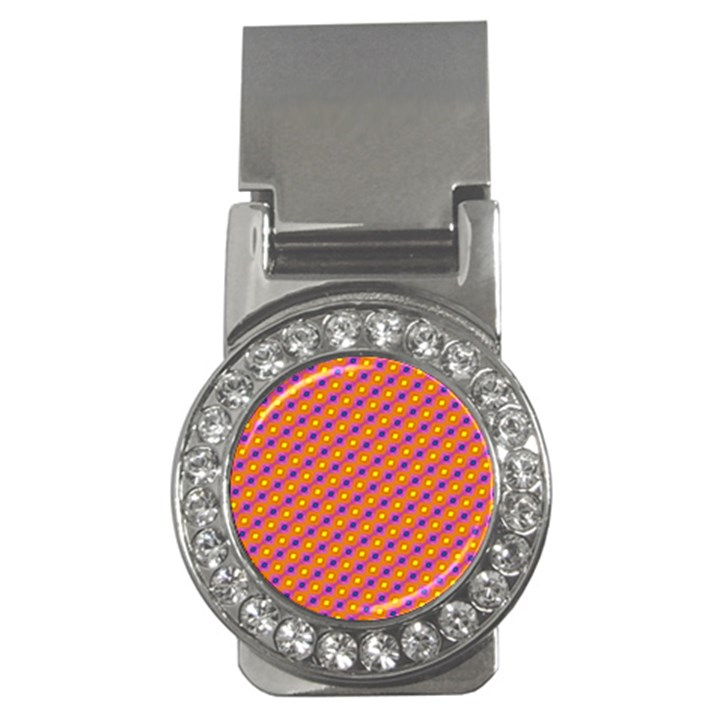 Vibrant Retro Diamond Pattern Money Clips (CZ)