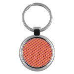 Vibrant Retro Diamond Pattern Key Chains (Round)  Front