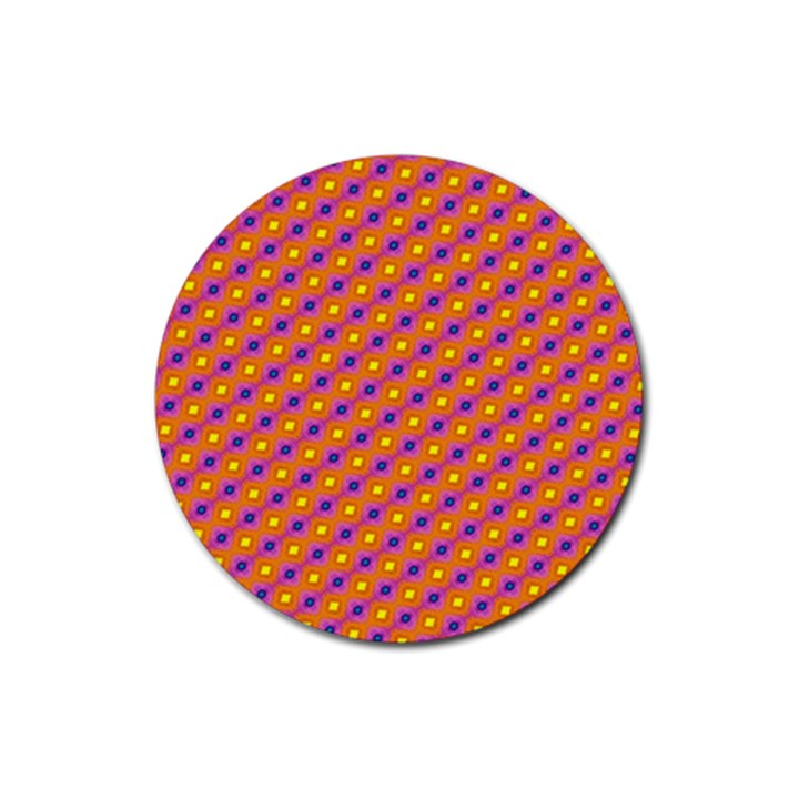 Vibrant Retro Diamond Pattern Rubber Coaster (Round)