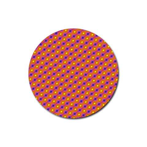 Vibrant Retro Diamond Pattern Rubber Round Coaster (4 pack)