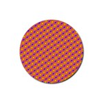 Vibrant Retro Diamond Pattern Rubber Round Coaster (4 pack)  Front