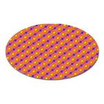 Vibrant Retro Diamond Pattern Oval Magnet Front