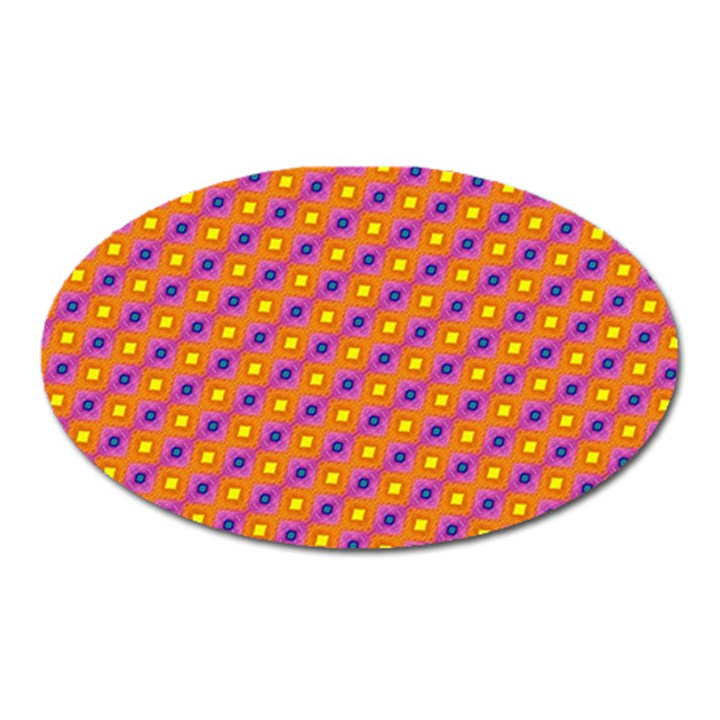 Vibrant Retro Diamond Pattern Oval Magnet