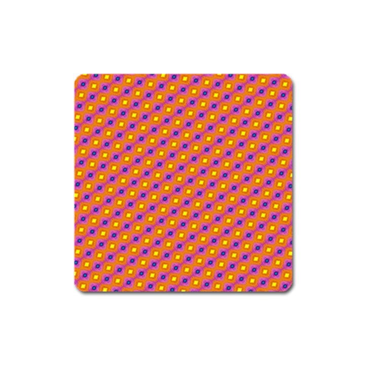 Vibrant Retro Diamond Pattern Square Magnet