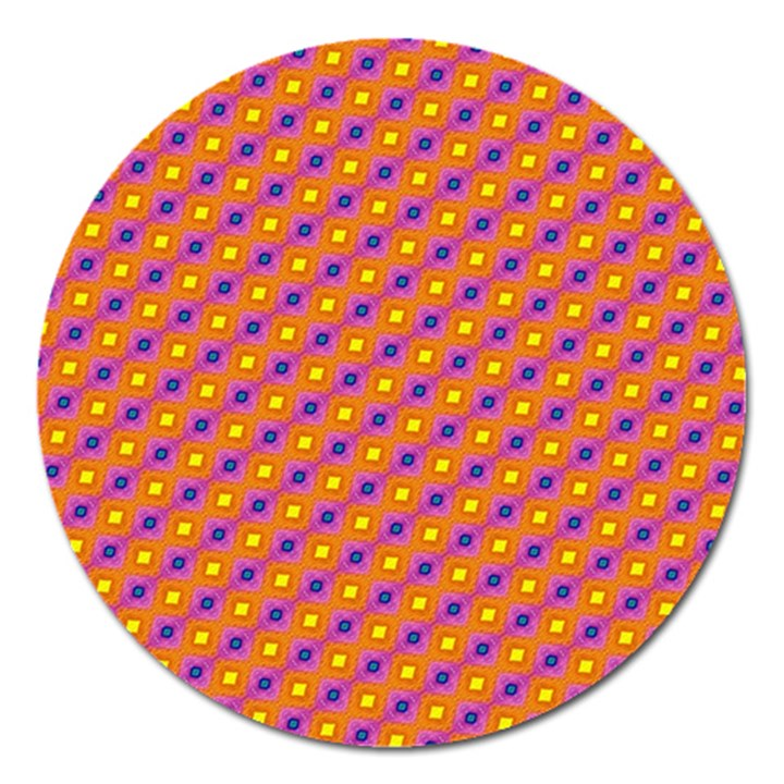 Vibrant Retro Diamond Pattern Magnet 5  (Round)