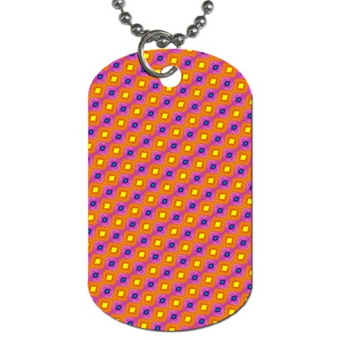 Vibrant Retro Diamond Pattern Dog Tag (One Side)