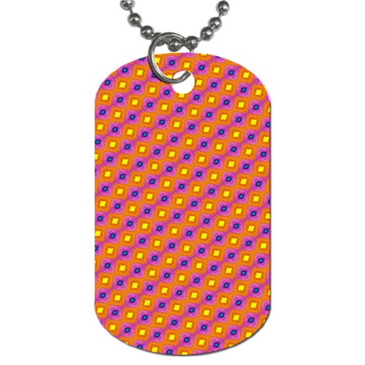 Vibrant Retro Diamond Pattern Dog Tag (One Side)