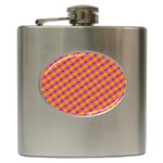 Vibrant Retro Diamond Pattern Hip Flask (6 oz) Front