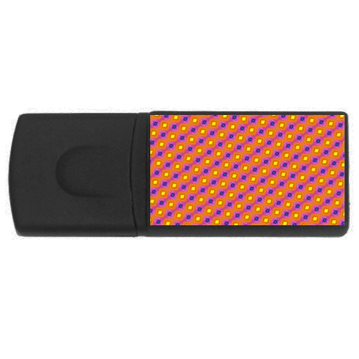 Vibrant Retro Diamond Pattern USB Flash Drive Rectangular (2 GB)