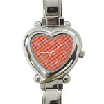 Vibrant Retro Diamond Pattern Heart Italian Charm Watch Front