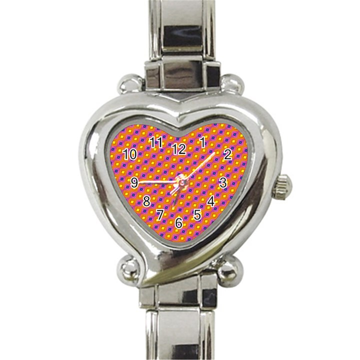 Vibrant Retro Diamond Pattern Heart Italian Charm Watch