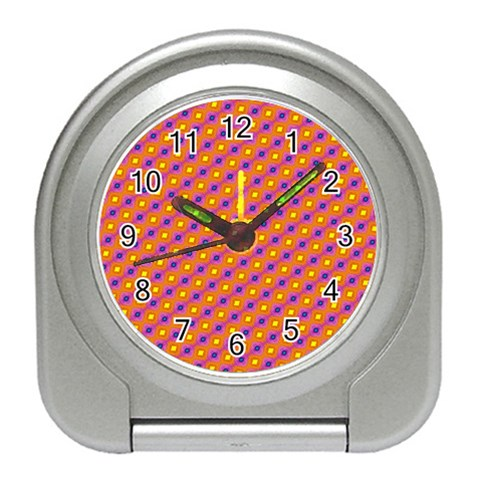 Vibrant Retro Diamond Pattern Travel Alarm Clocks