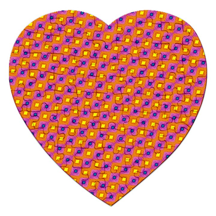 Vibrant Retro Diamond Pattern Jigsaw Puzzle (Heart)