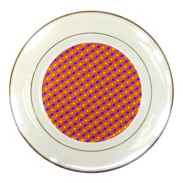 Vibrant Retro Diamond Pattern Porcelain Plates