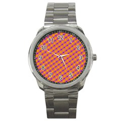 Vibrant Retro Diamond Pattern Sport Metal Watch