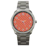 Vibrant Retro Diamond Pattern Sport Metal Watch Front