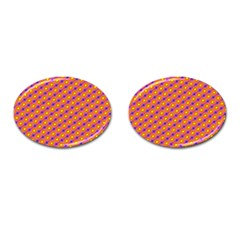 Vibrant Retro Diamond Pattern Cufflinks (oval)