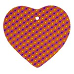 Vibrant Retro Diamond Pattern Heart Ornament (2 Sides) Front