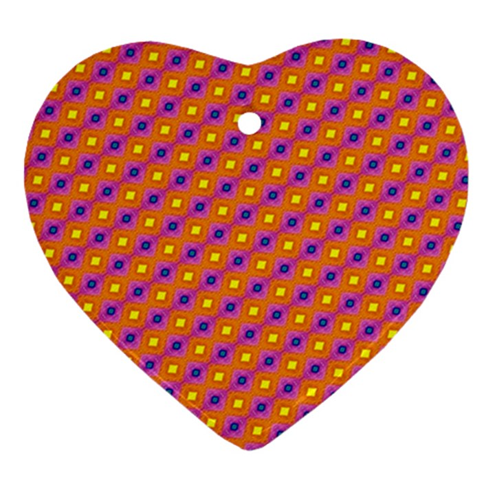 Vibrant Retro Diamond Pattern Heart Ornament (2 Sides)