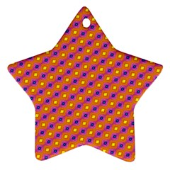 Vibrant Retro Diamond Pattern Star Ornament (two Sides)