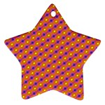 Vibrant Retro Diamond Pattern Star Ornament (Two Sides)  Back