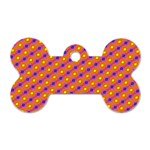 Vibrant Retro Diamond Pattern Dog Tag Bone (One Side) Front
