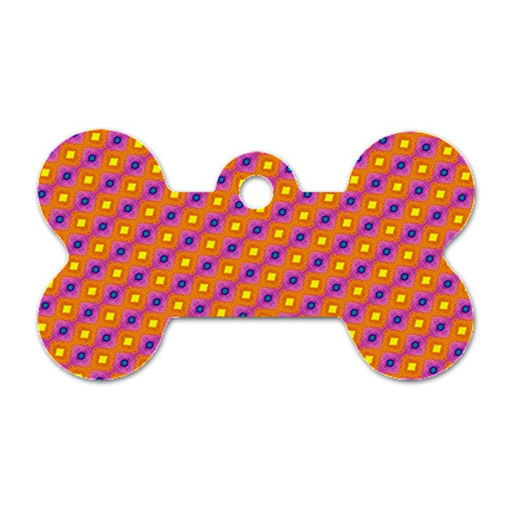 Vibrant Retro Diamond Pattern Dog Tag Bone (One Side)