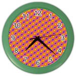 Vibrant Retro Diamond Pattern Color Wall Clocks Front
