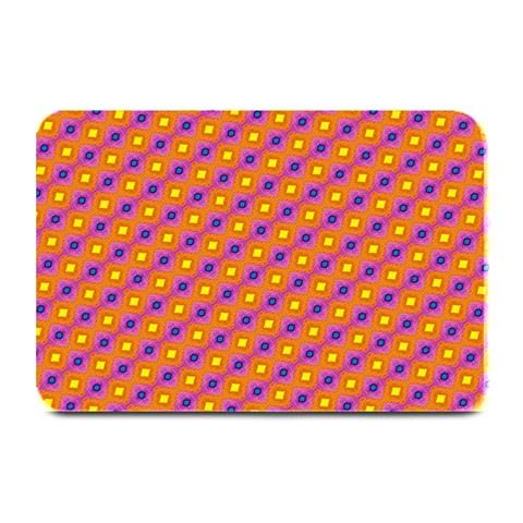 Vibrant Retro Diamond Pattern Plate Mats