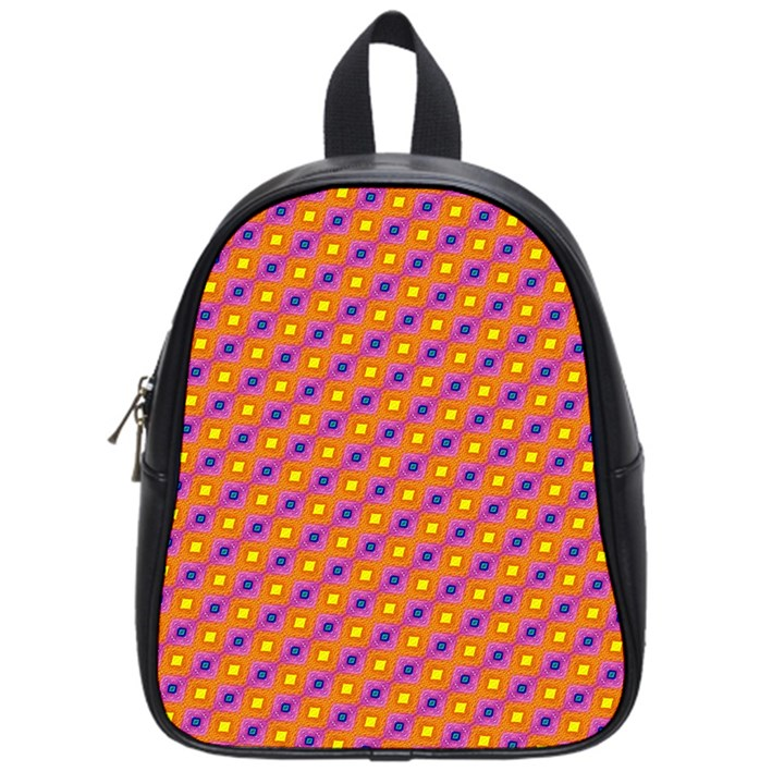 Vibrant Retro Diamond Pattern School Bags (Small)