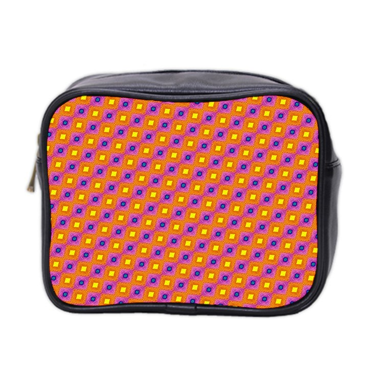 Vibrant Retro Diamond Pattern Mini Toiletries Bag 2-Side
