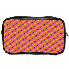 Vibrant Retro Diamond Pattern Toiletries Bags